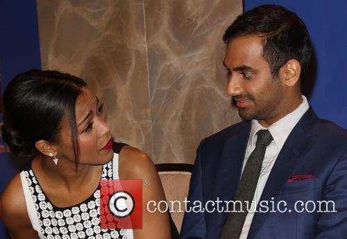 Zoe Saldana, Aziz Ansari, Beverly Hilton Hotel, Golden Globe Awards