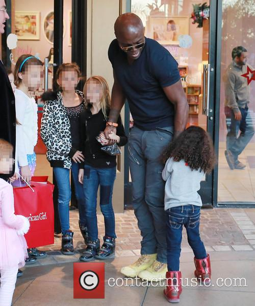Seal and his daughters at The Grove