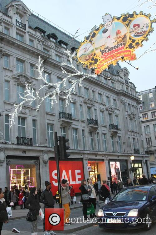 Consumers out in central London Christmas shopping on...