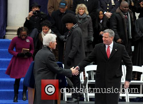 Bill Clinton and Mayor Bill De Blasio 11