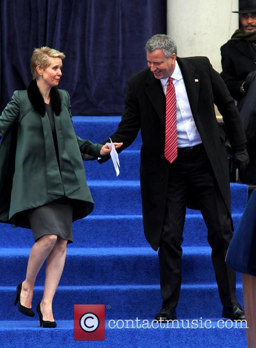 Cynthia Nixon and Mayor Bill De Blasio 3
