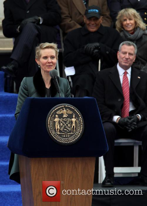 Cynthia Nixon and Mayor Bill De Blasio 1
