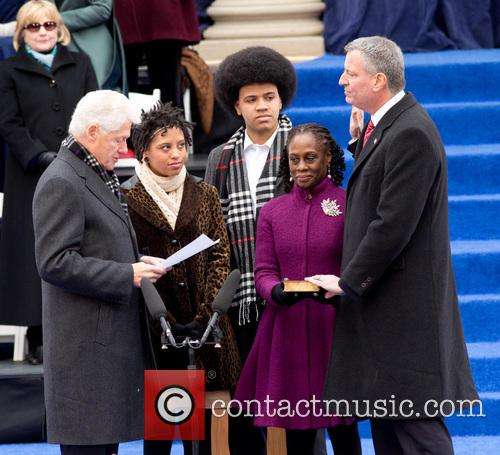 Bill Clinton, Chiara Deblasio, Dante Deblasio, Chirlane Mccray and Bill Deblasio 6