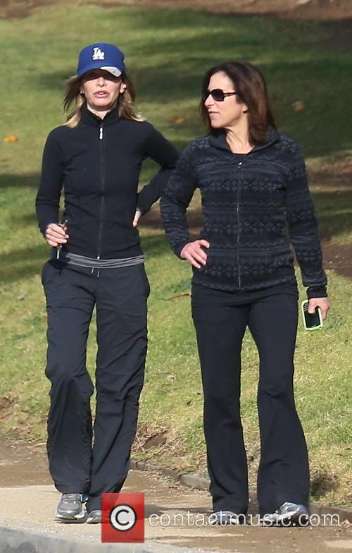 Calista Flockhart and friend out walking