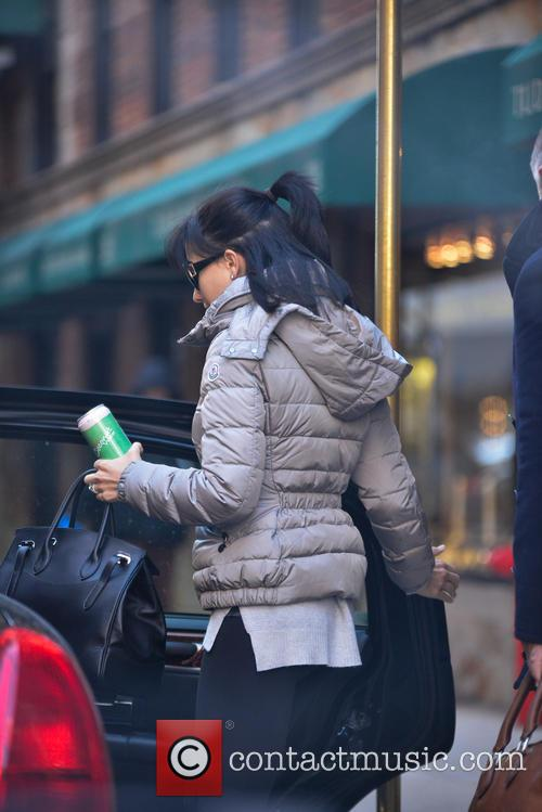 Hilaria Baldwin leaving her apartment