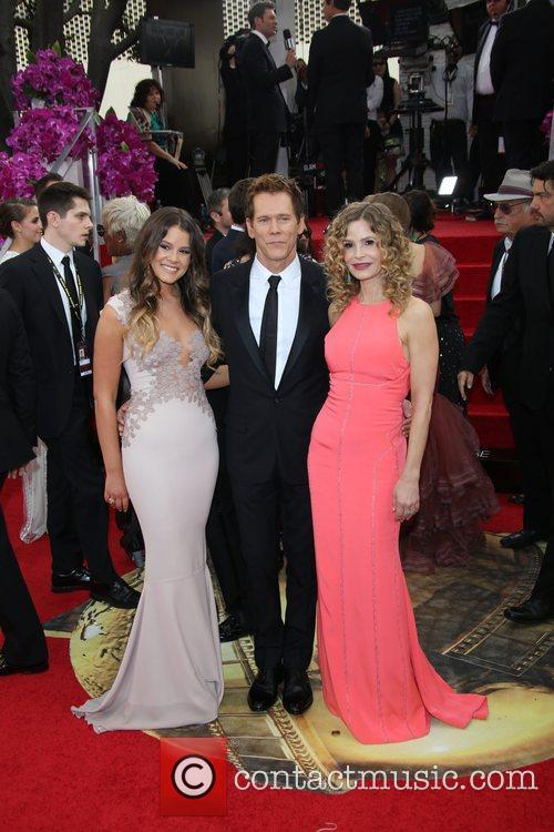 Kyra Sedgwick (r-l), Kevin Bacon and Miss Golden Globe Sosie Bac