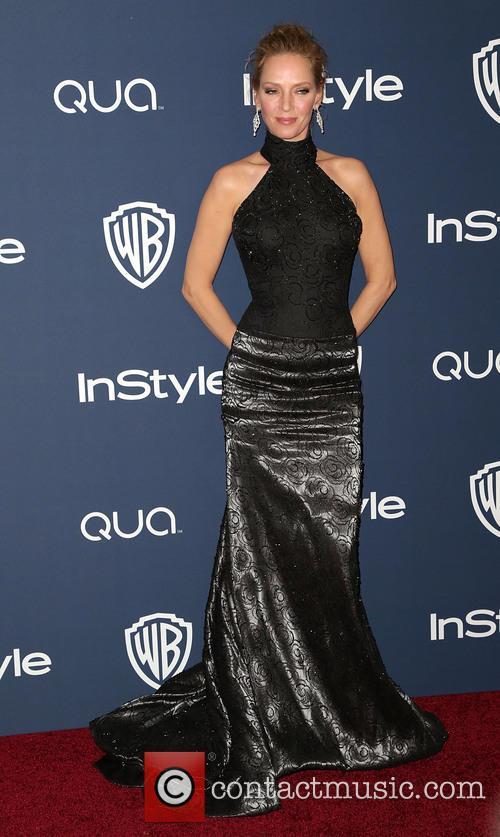 Uma Thurman, Oasis Courtyard at the Beverly Hilton Hotel, Golden Globe Awards, Beverly Hilton Hotel