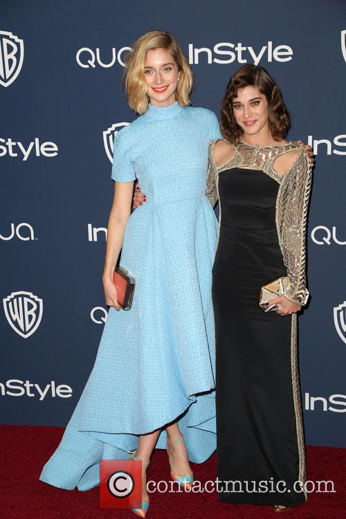 Caitlin FitzGerald, Lizzy Caplan, Oasis Courtyard at the Beverly Hilton Hotel, Golden Globe Awards, Beverly Hilton Hotel