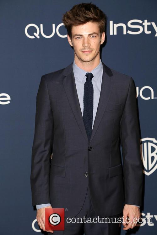 Grant Gustin, Oasis Courtyard at the Beverly Hilton Hotel, Golden Globe Awards, Beverly Hilton Hotel
