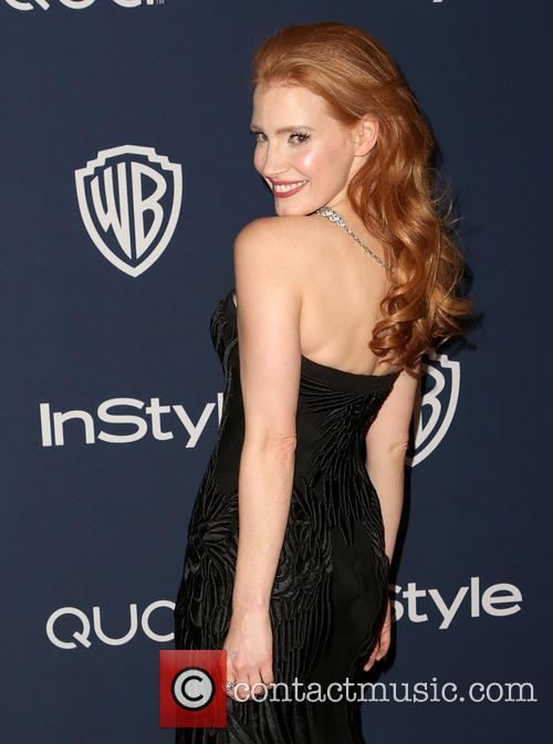 Jessica Chastain, Oasis Courtyard at the Beverly Hilton Hotel, Golden Globe Awards, Beverly Hilton Hotel