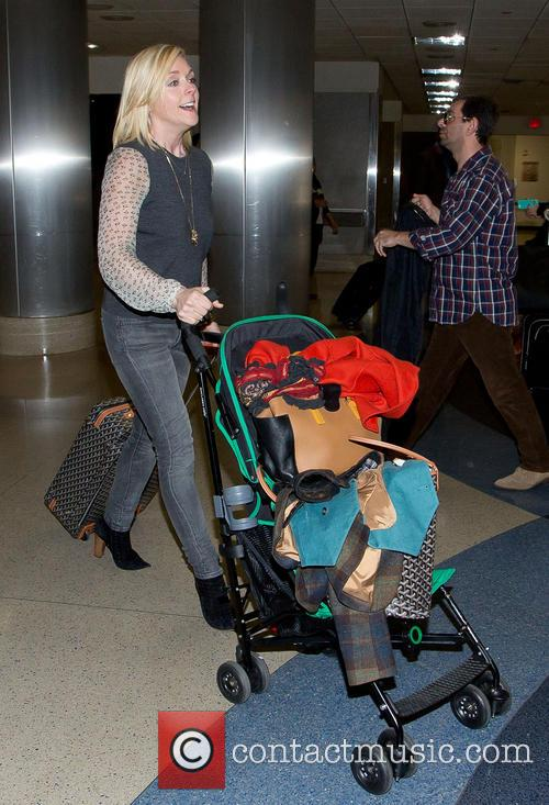 Jane Krakowski and her son at LAX