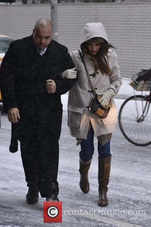 Jessica Alba out in a winter snow storm