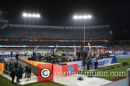 KISS perform live at the Dodgers Stadium