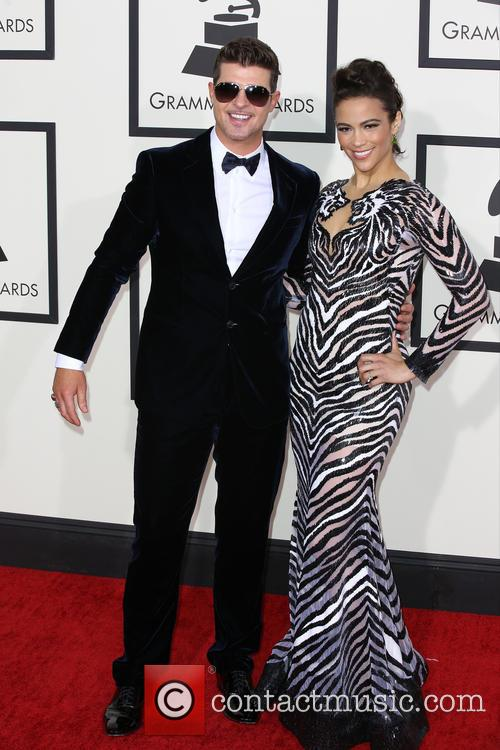 Thicke and Patton at 56th Grammy Awards