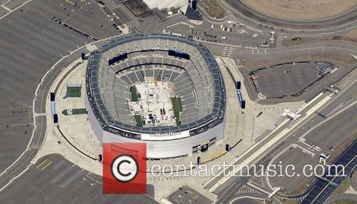 An aerial view of the MetLife Stadium in...