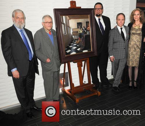 Tim Jensison, Artist David Hockney, Penn Jillette, Teller and Farley Ziegler 1