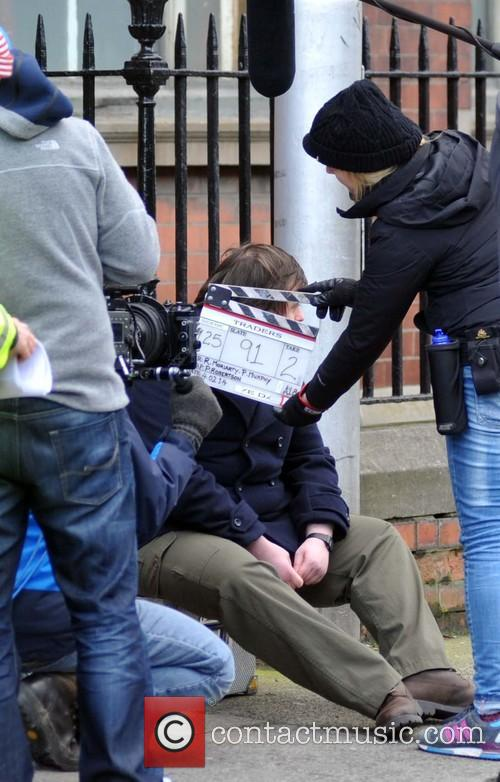 Filming on the set of 'Traders' in Dublin