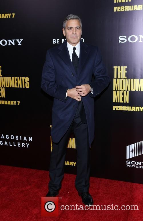 George Clooney arriving at the world premiere of 'The Monuments Men'