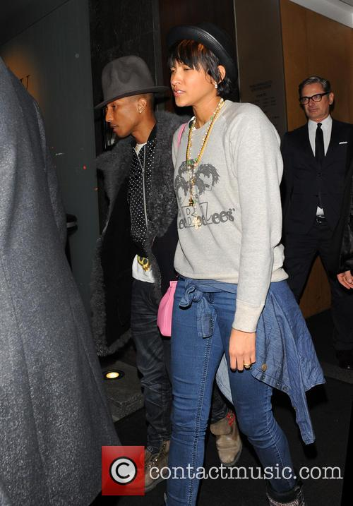 Pharrell Williams and wife Helen Lasichanh leaving Nobu...