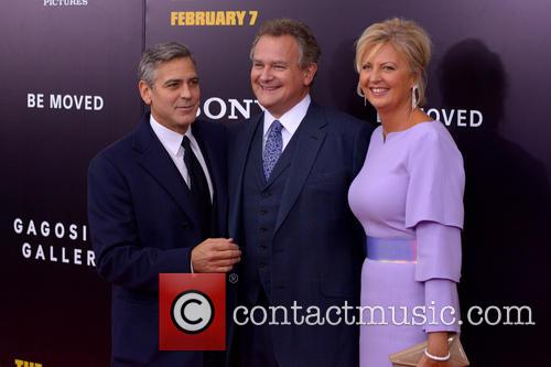 George Clooney, Hugh Bonneville and Lulu Williiams on 'The Monuments Men' red carpet