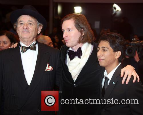 Bill Murray, Tony Revolori (r), Wes Anderson and Berlin 2