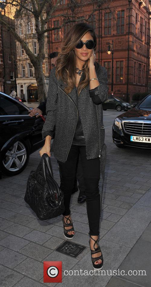Nicole Scherzinger leaves the Sony offices and heads back to her hotel