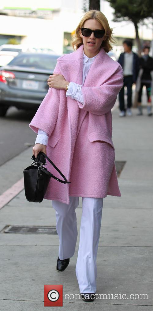 January Jones leaving Sunset Tower Hotel after lunch