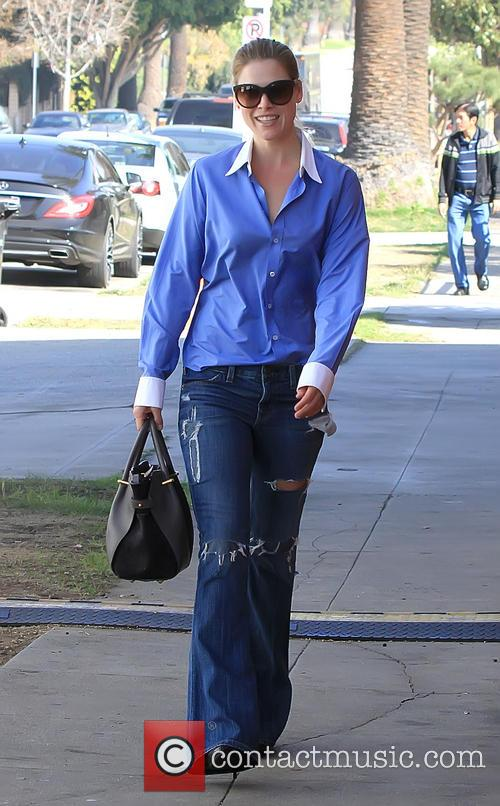 Ali Larter arrives at a film set