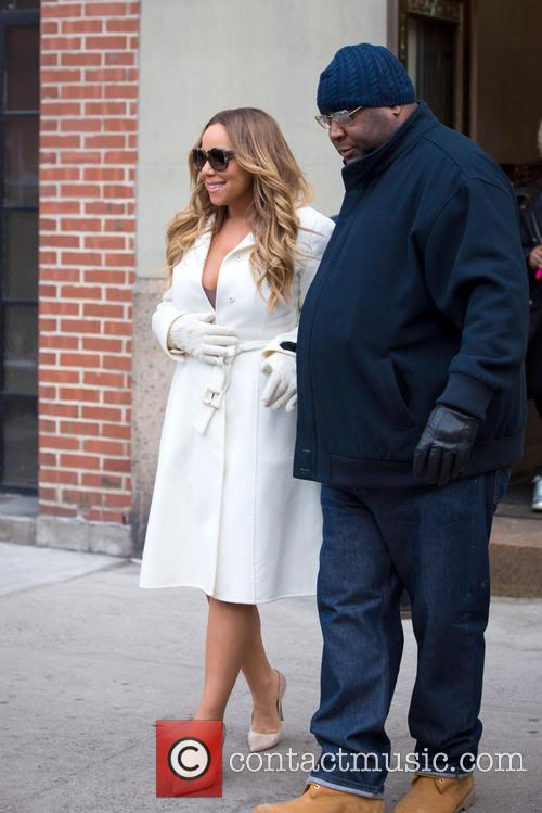 Mariah Carey on her way to CBS Radio...