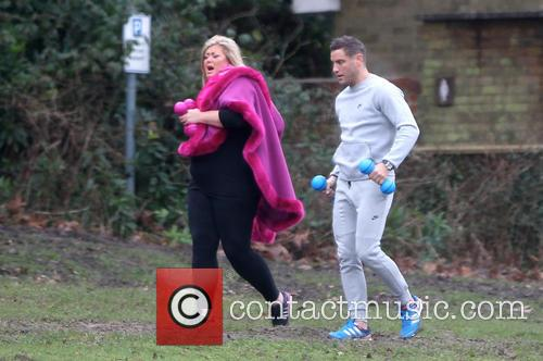 Gemma Collins and Elliott Wright filming 'The Only...