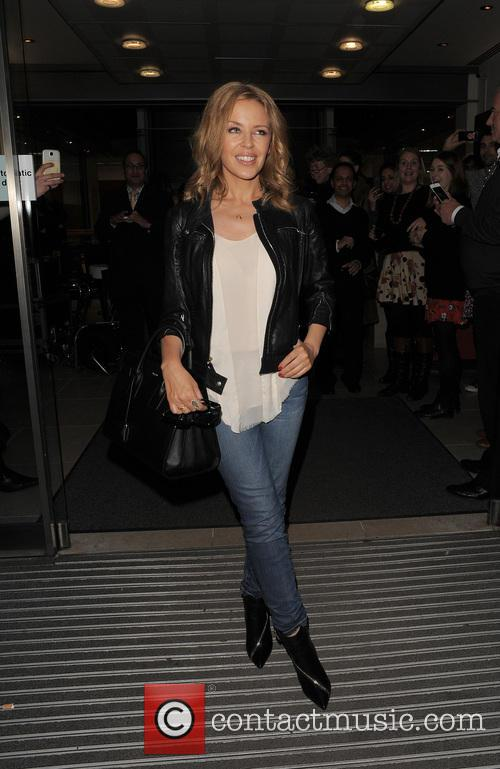 Kylie Minogue leaving an office building in Soho