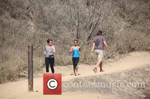 Lea Michele works up a morning sweat on a hike