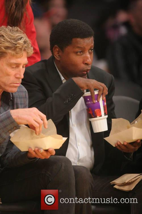 Celebrities at the Los Angeles Lakers v Oklahoma...