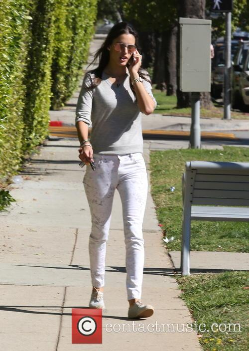 Alessandra Ambrosio walking her daughter to school