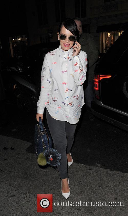 Lily Allen arriving back at her hotel