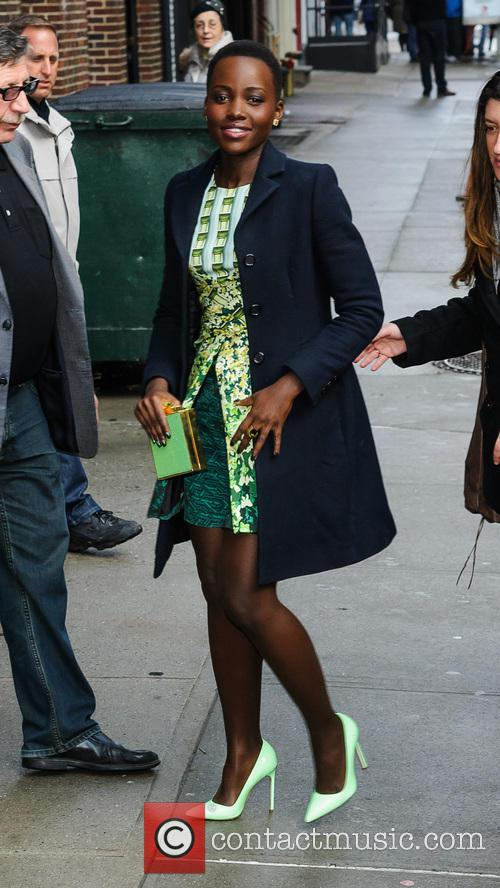 Lupita Nyong'o arriving at 'The Late Show with...