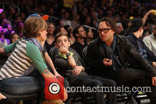 johnny galecki celebrities courtside at the lakers 4080736