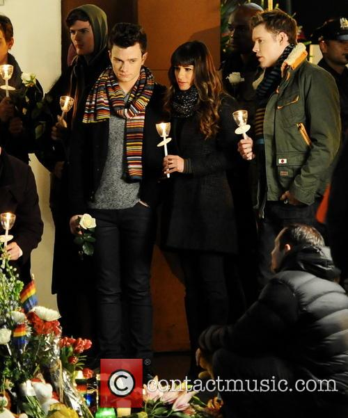 lea michele chris colfer chord overstreet the cast of 4085167