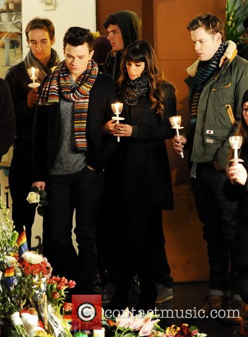 Lea Michele, Chris Colfer and Chord Overstreet 4