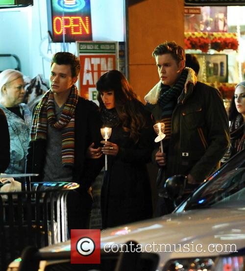 Lea Michele, Chris Colfer and Chord Overstreet 8