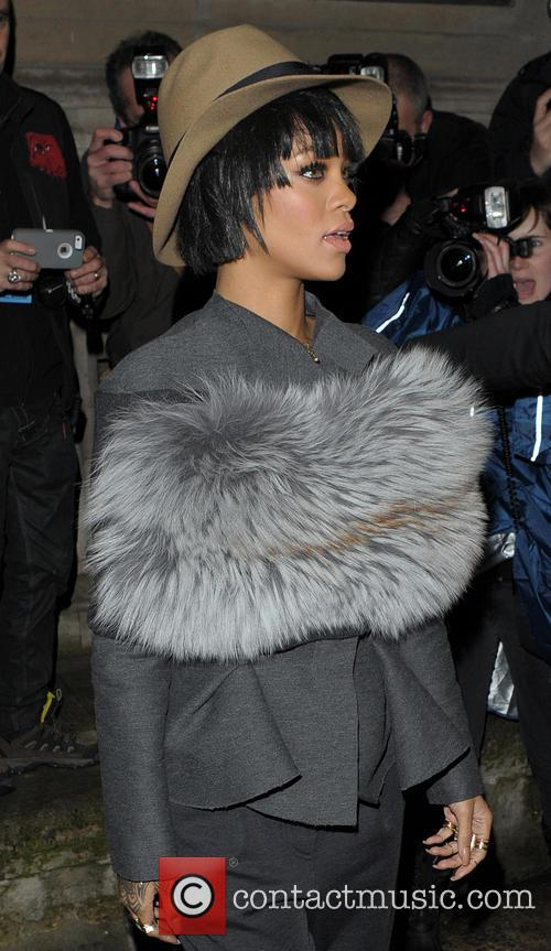 Rihanna arriving at the Lanvin Fahion Show