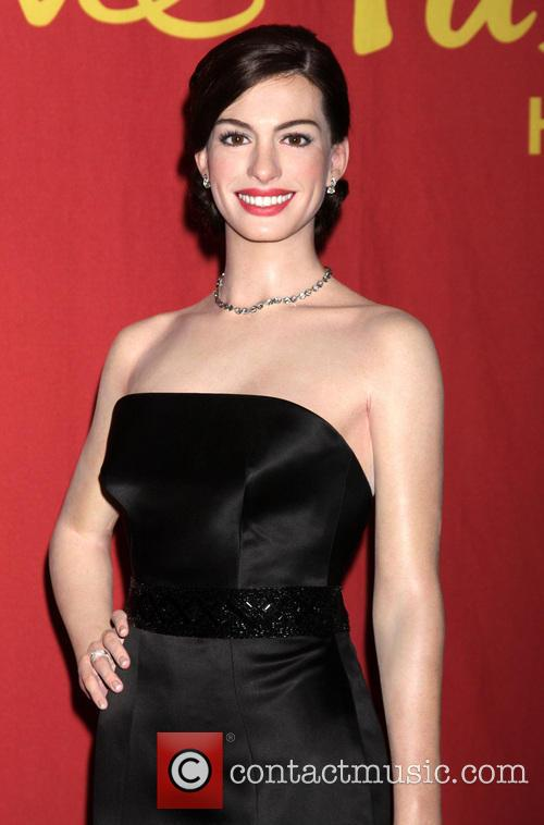 A waxwork of Anne Hathaway unveiled at Madame...
