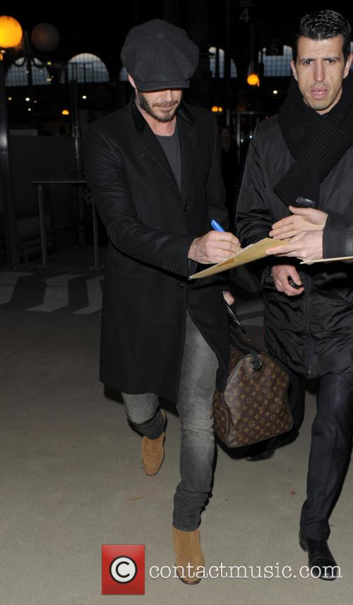 David Beckham arriving at Gare du Nord
