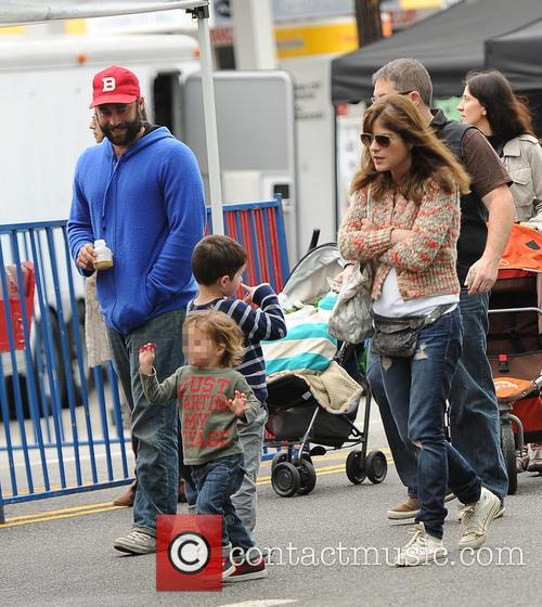 Selma Blair and family at the Farmers Market