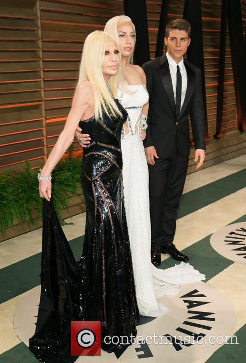 Donatella Versace, Lady Gaga and Nolan Gerard Funk 2