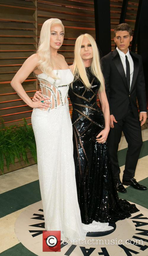 Donatella Versace, Lady Gaga and Nolan Gerard Funk 3