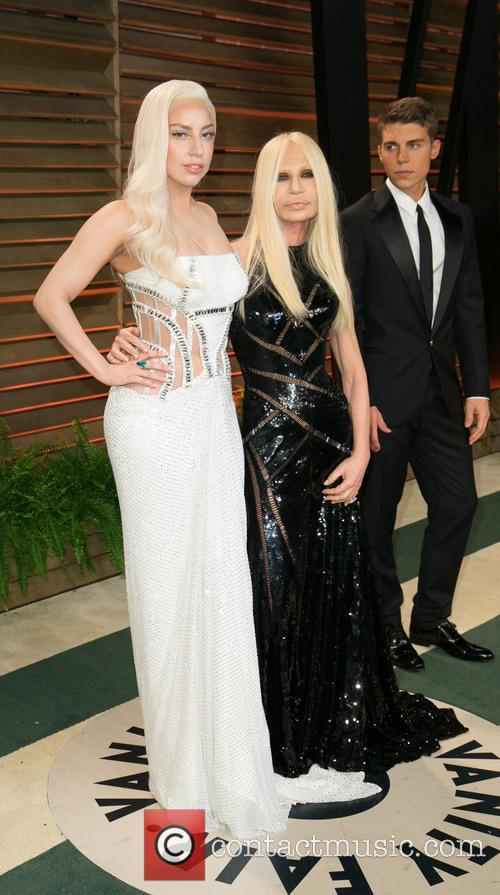 Donatella Versace, Lady Gaga and Nolan Gerard Funk 5