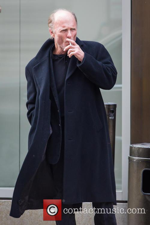 Ed Harris Smoking Outside Hotel