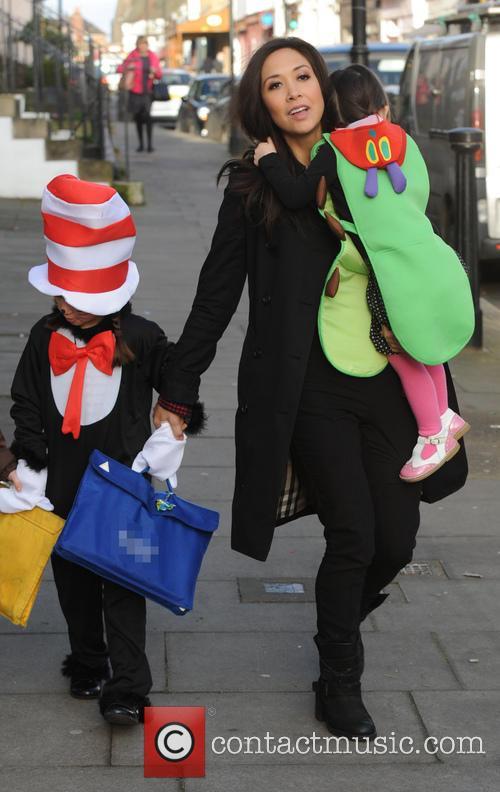 Myleene Klass walking her daughters to school