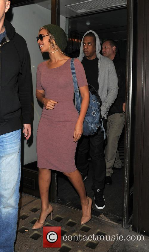 Beyonce and Jay Z seen leaving Cecconi's restaurant...